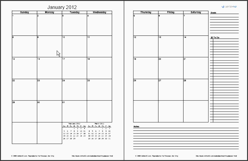 2 page monthly planner