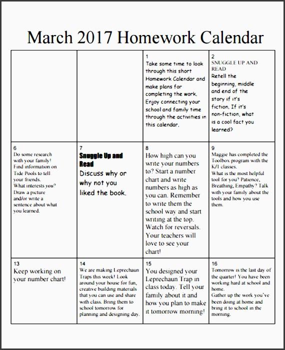 7 homework calendar templates free sample example format