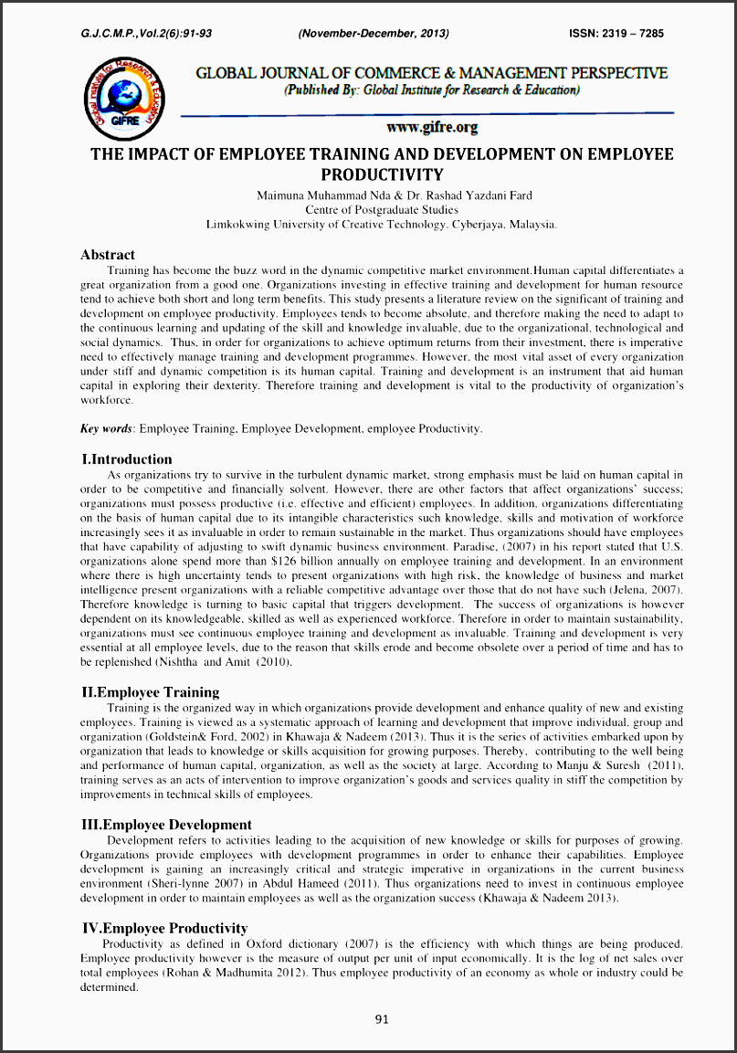 the impact of employee training and development on employee productivity pdf available
