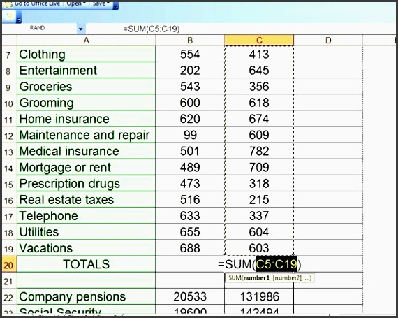 determine the total of current and projected expenses as well as the total for current and projected sources of in e in microsoft excel