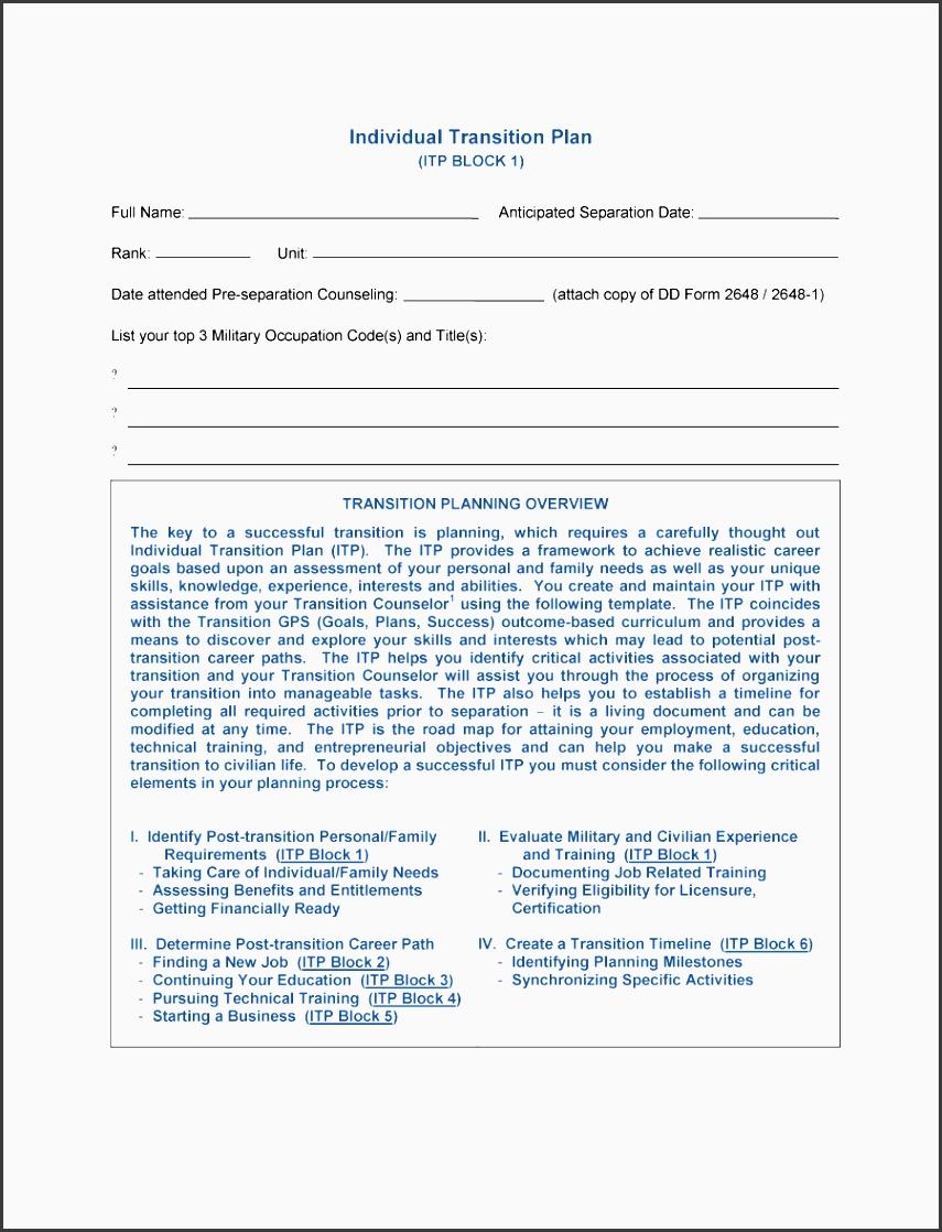 printable transition plan template 21
