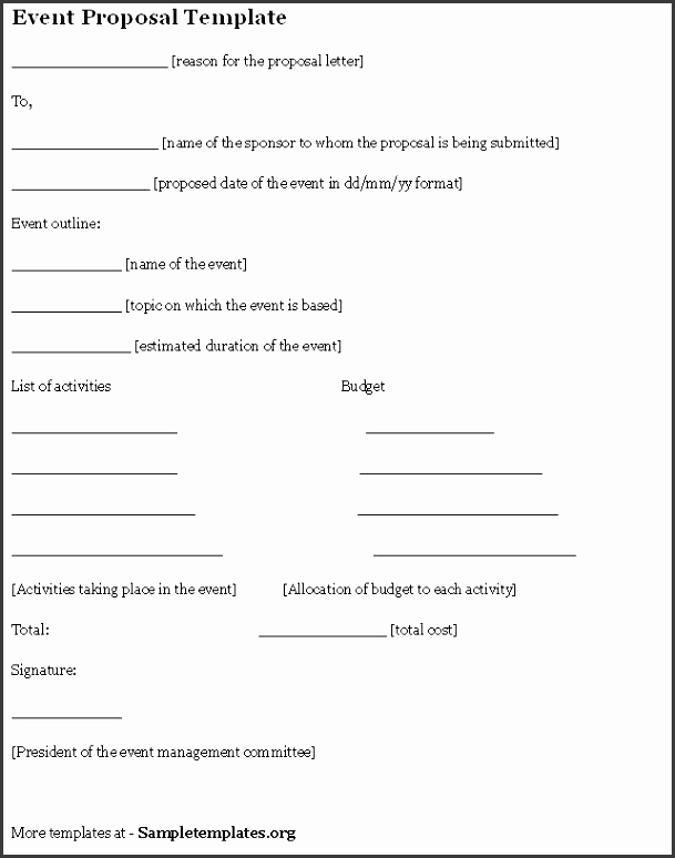 bad event proposal template 1
