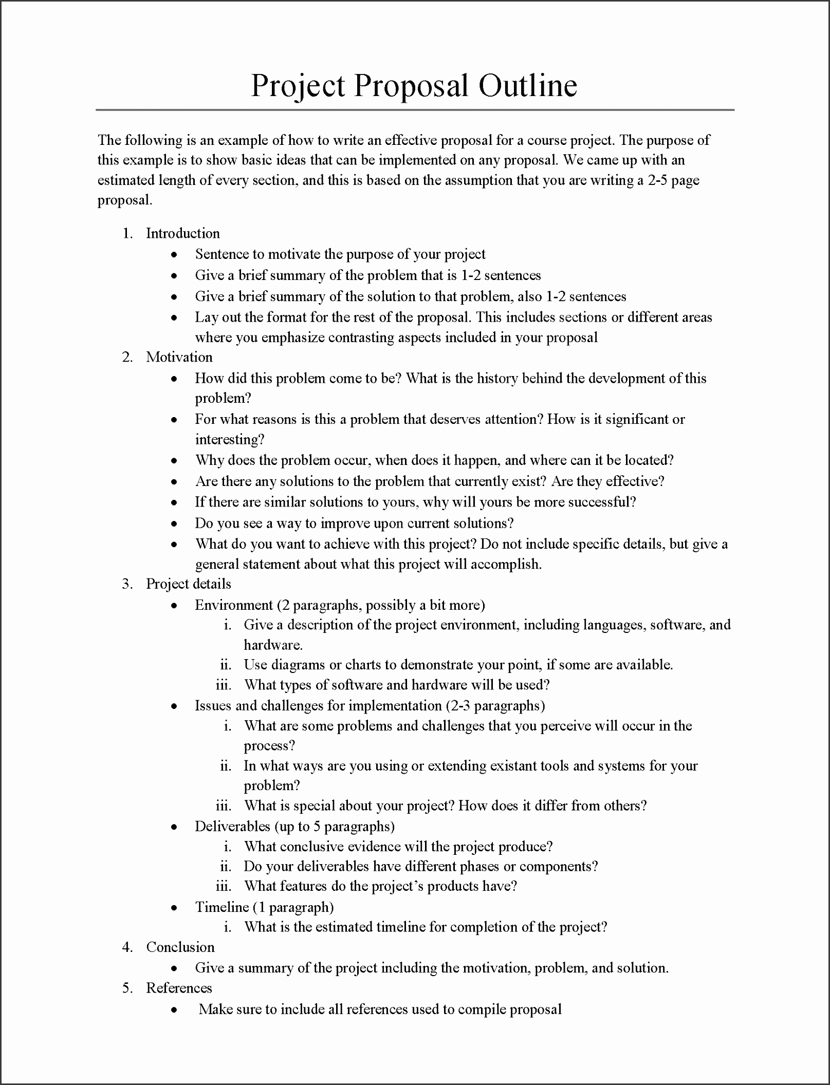 project proposal outline sample
