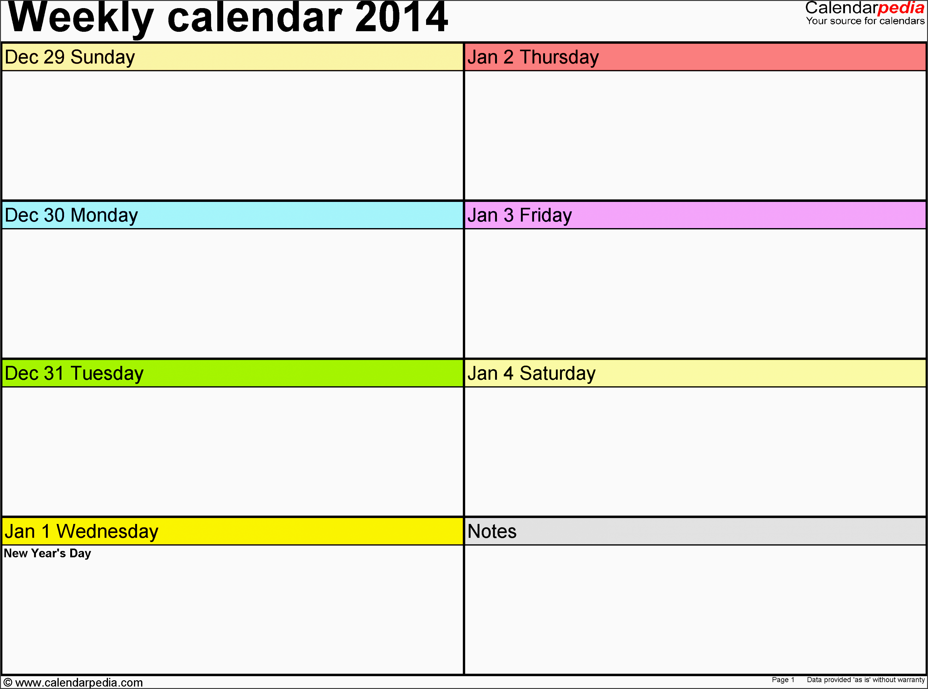 weekly calendar 2014 template for excel version 2 landscape 53 pages in