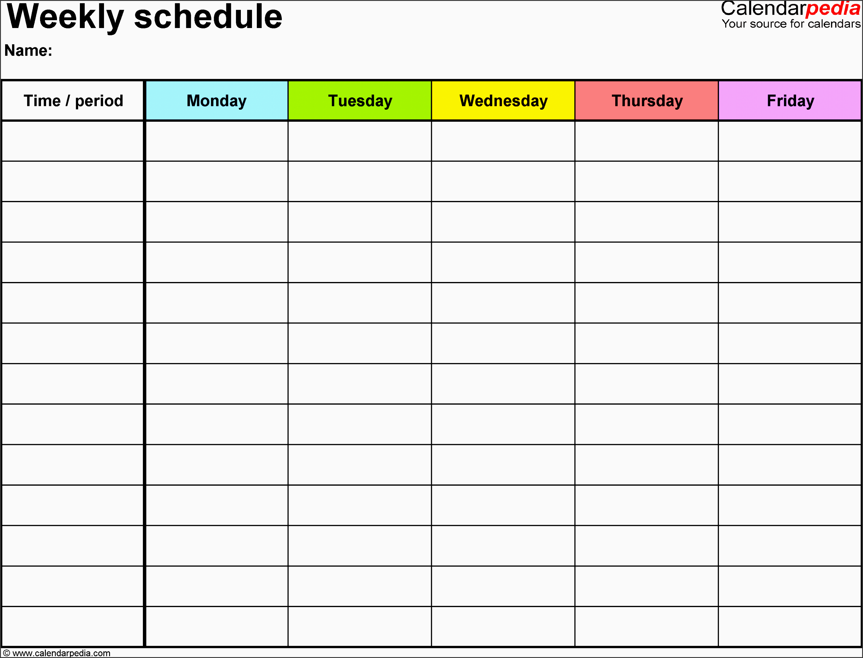 weekly schedule template for excel version 1 landscape 1 page monday to friday