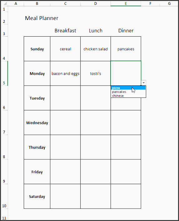 meal planner in excel