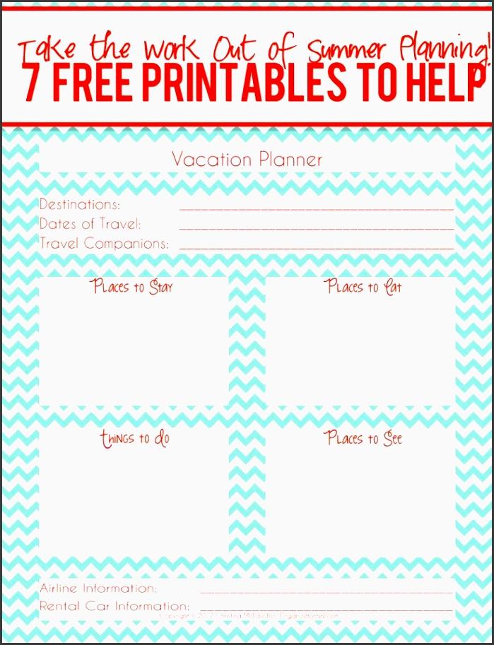 vacation planner printable freeprintable summer vacation