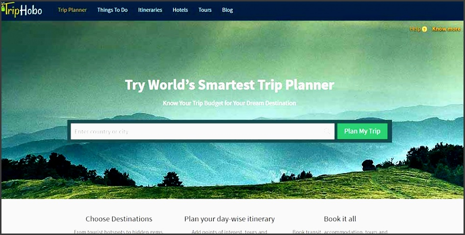 the itinerary maker will pick your current location as the city you are travelling from you can also change it to the name of the city you want to travel