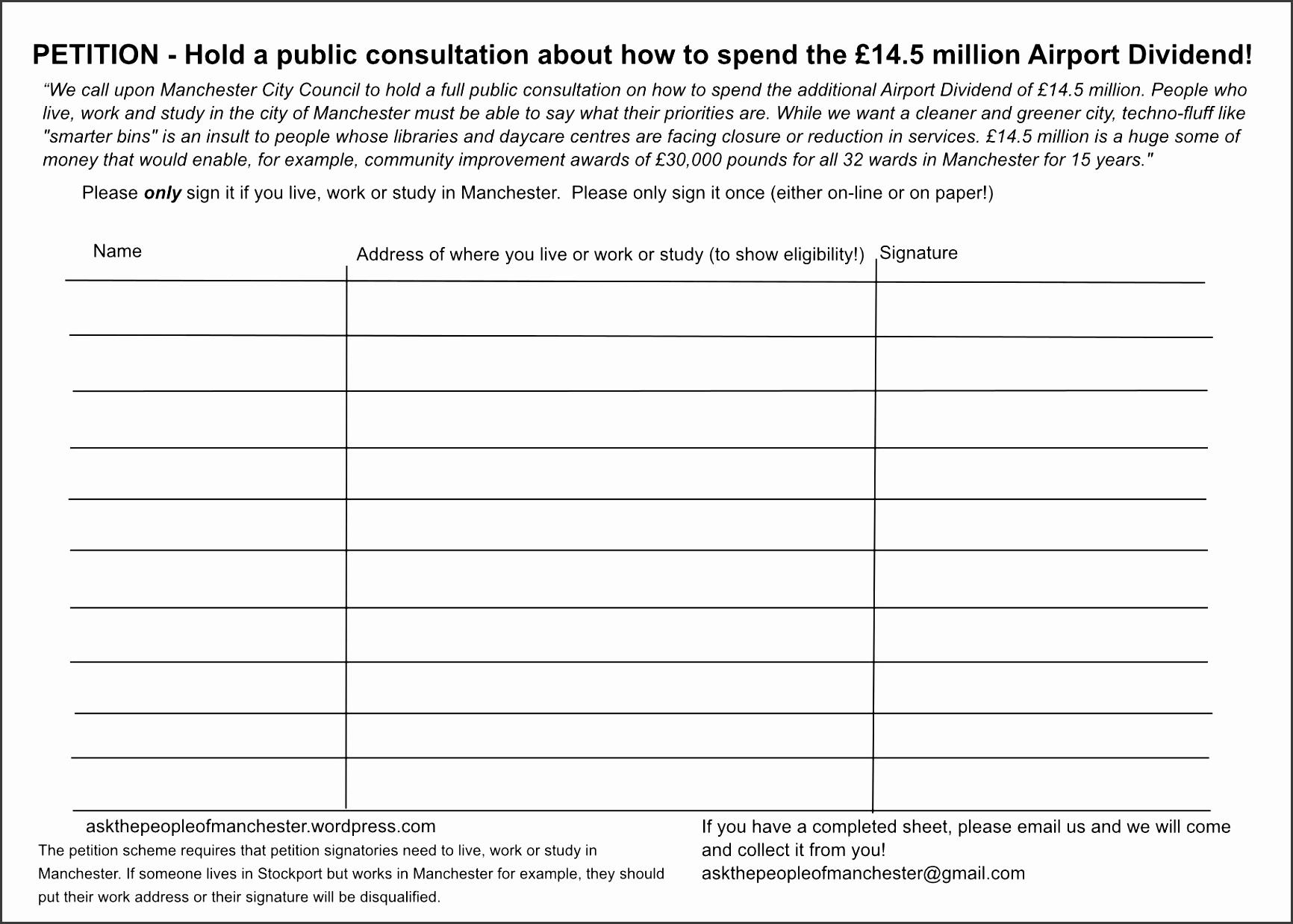 petition signature sheet template