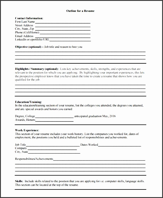 blank outline for a resume pdf format