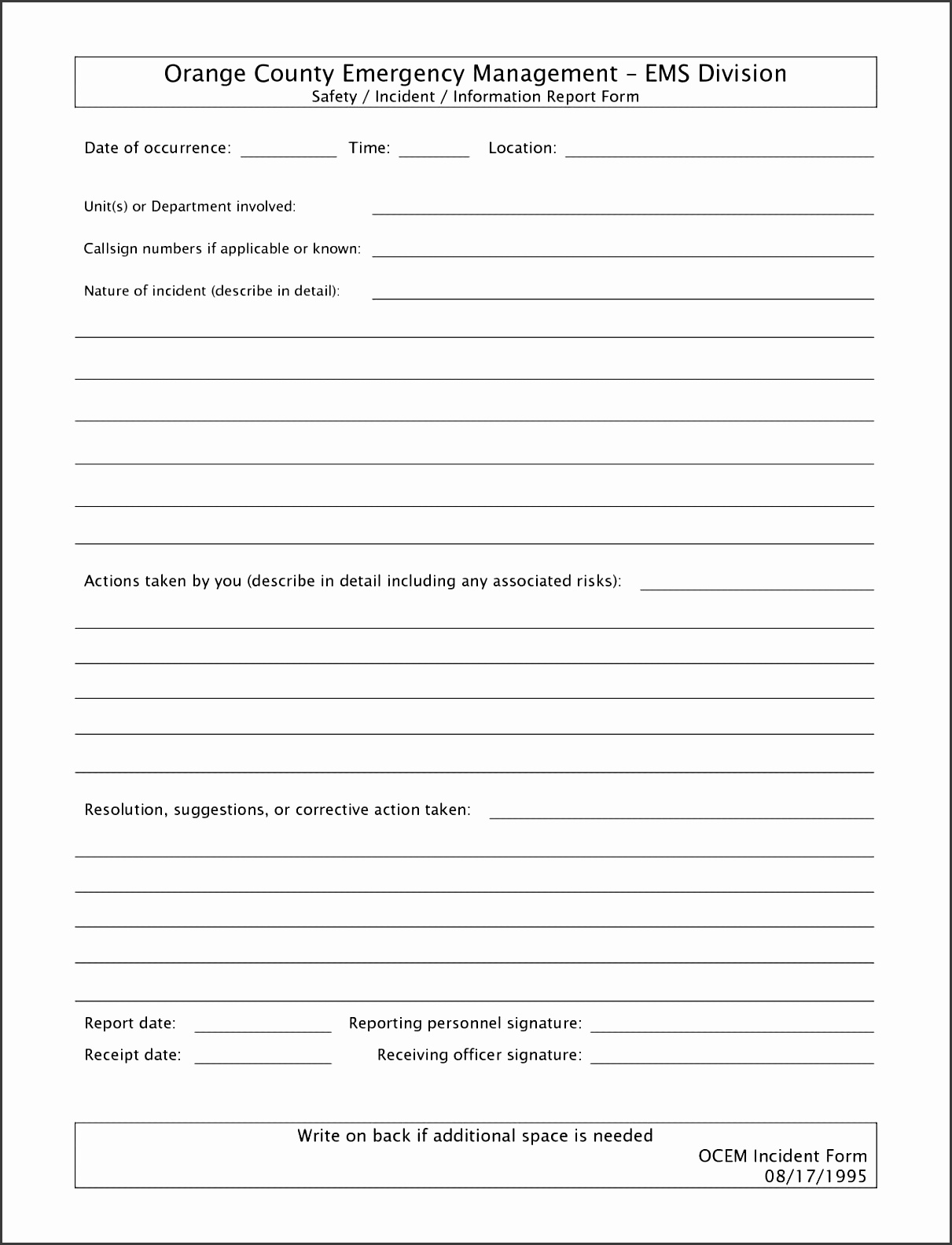 Technical Incident Report Template And Technical Writing Incident Report  Example  Incident Form Template