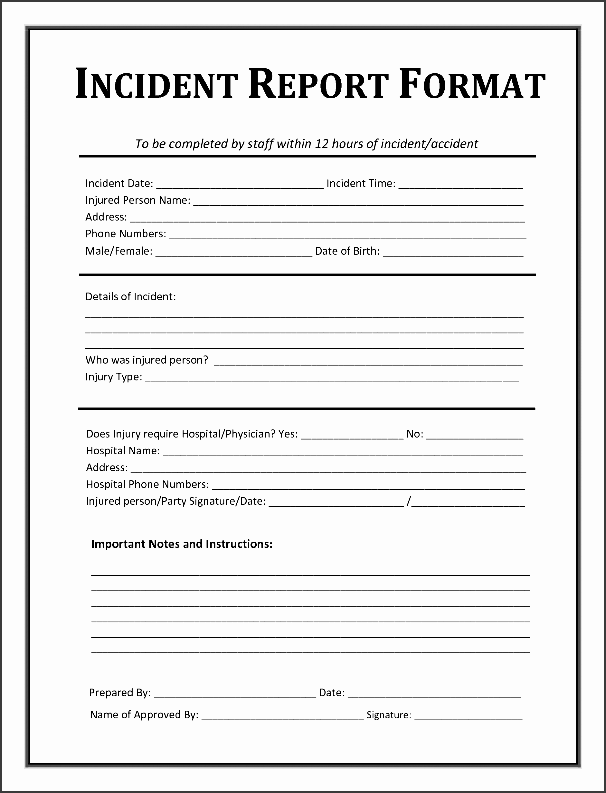 5 incident report template word