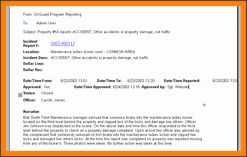 sample incident report writing example of incident report reportemail 1