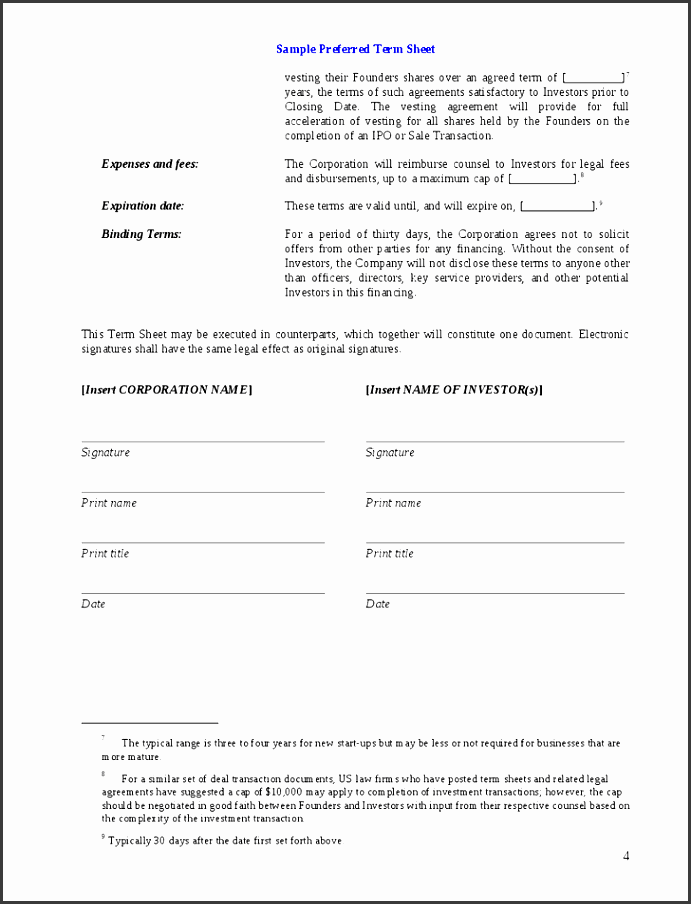 8 investment agreement template sampletemplatess for Investor term sheet template