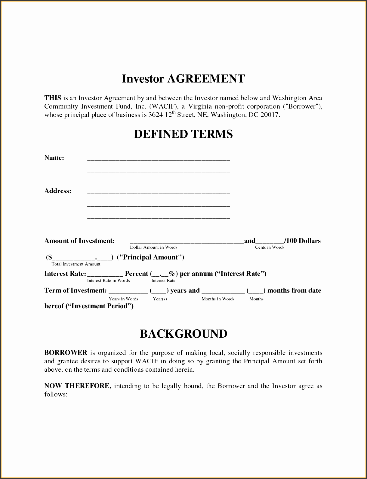 Uploaded By Adham Wasim Investment Contractmple Investors Agreement Form  Template 12851660 Investment Agreement Between ...  Investors Agreement Template