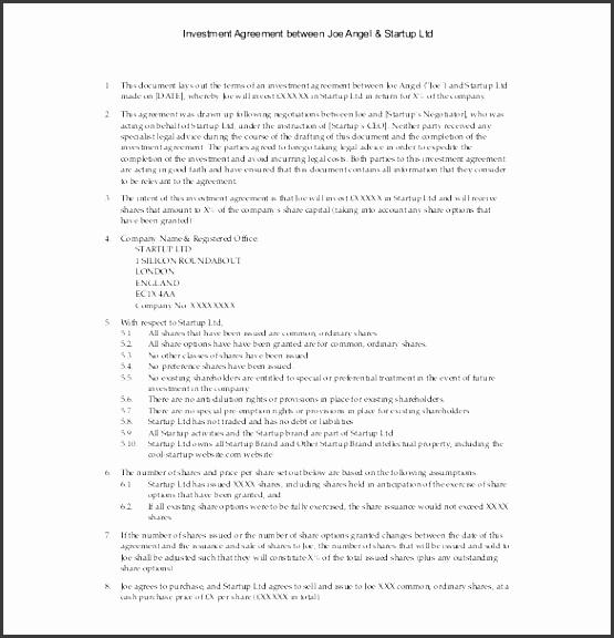 10 investment contract in pdf sampletemplatess sampletemplatess investment agreement between angel startup template pdf format platinumwayz