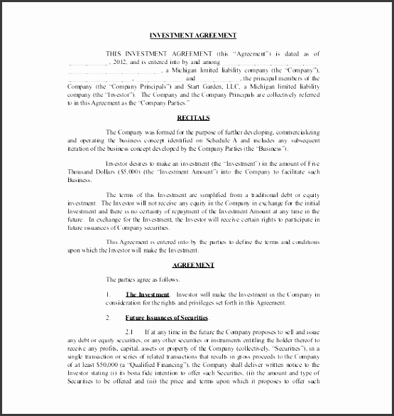 Investment Agreement. Capital Investment Agreement Form Investment ...