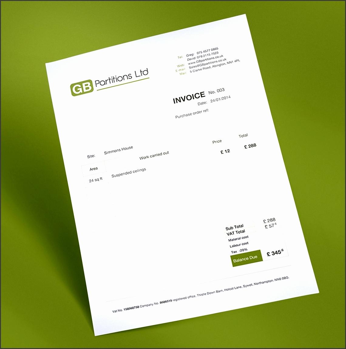 bespoke invoice design