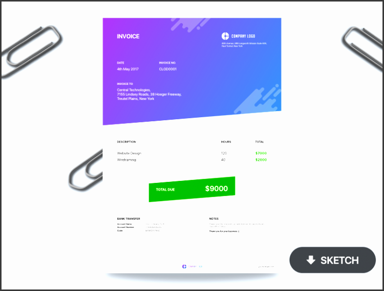 invoice free sketch template