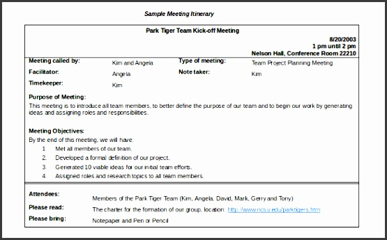 sample meeting agenda itinerary template