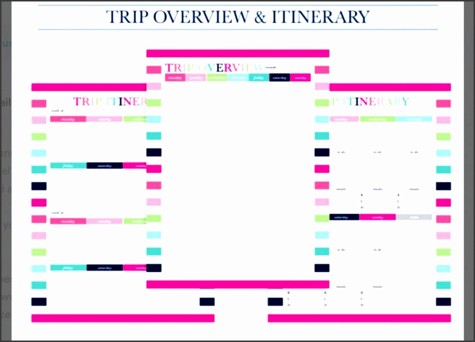 pink itinerary template kit