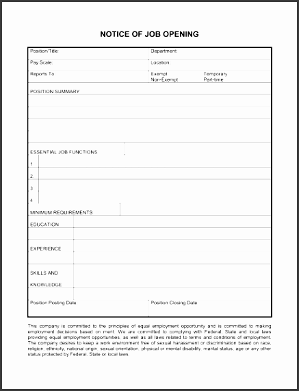 Notice Of Job Opening Form Job Description Form Template Sample Form  Biztree 460595  Job Description Form Sample