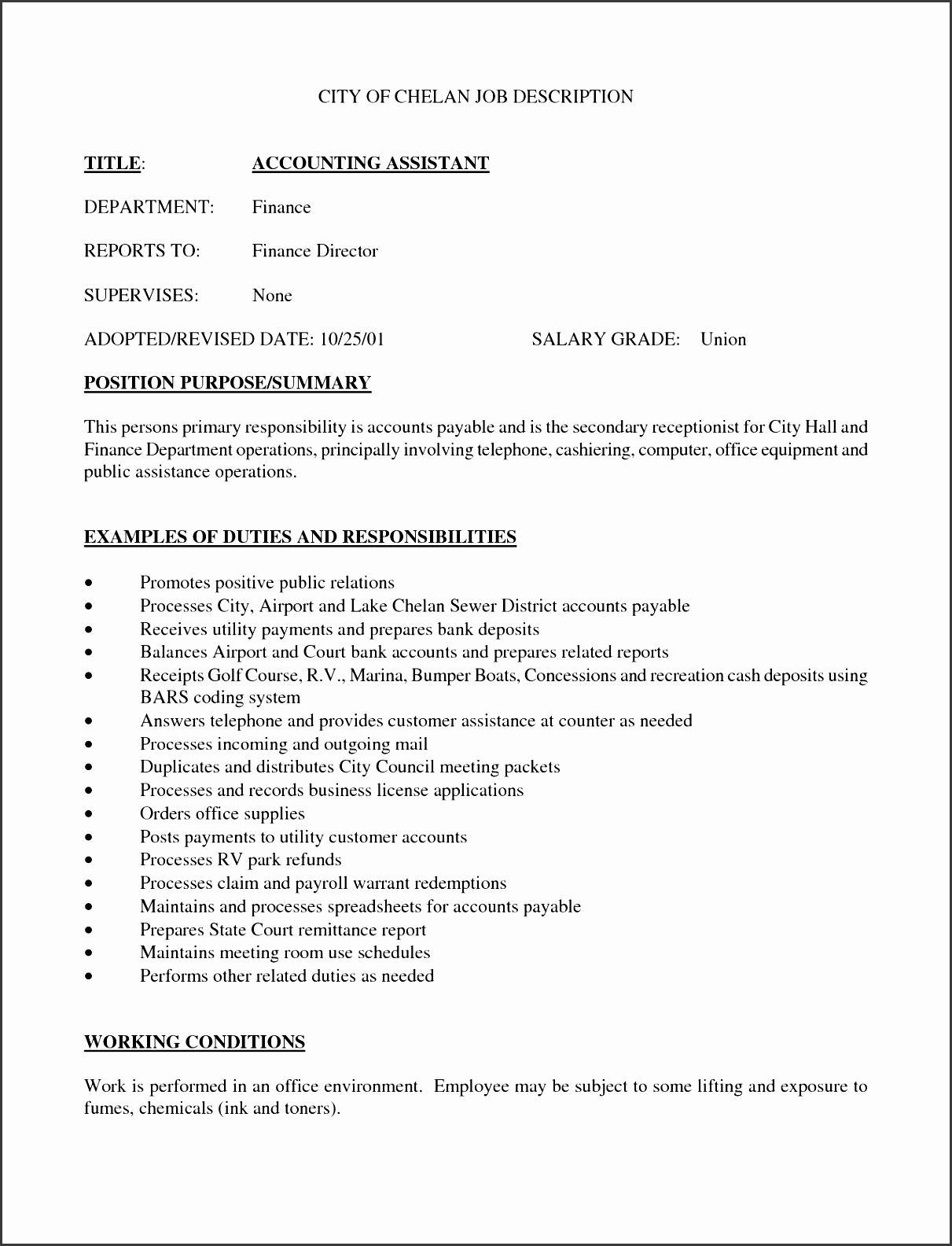 7 job description format - sampletemplatess