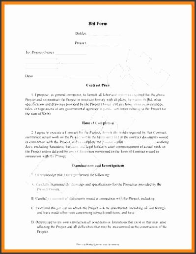 construction job proposal bid form