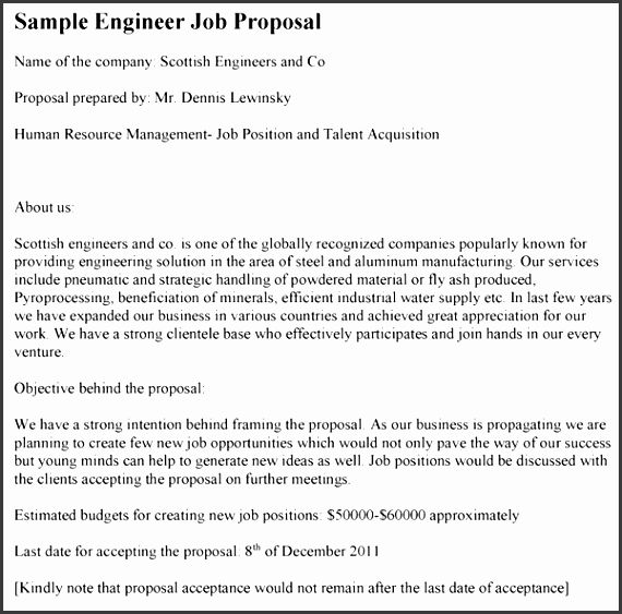 engineer job proposal