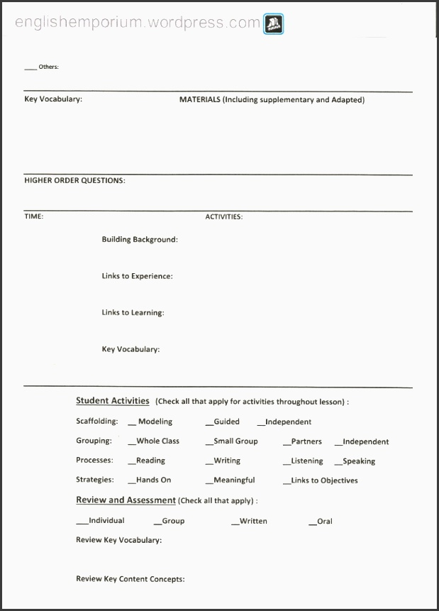 blank siop lesson plan template for teachers to use in the geography classroom