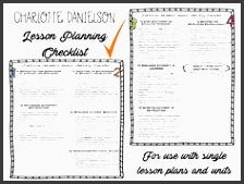 charlotte danielson lesson planning checklist