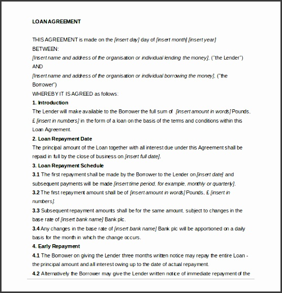 free private loan agreement template