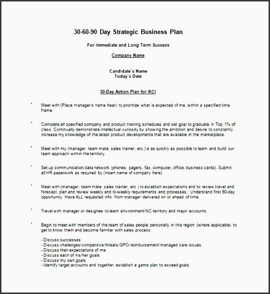 30 60 90 Day Business Action Plan Sample Template Has Example To Help You  Ideas For  Daily Action Plan Template