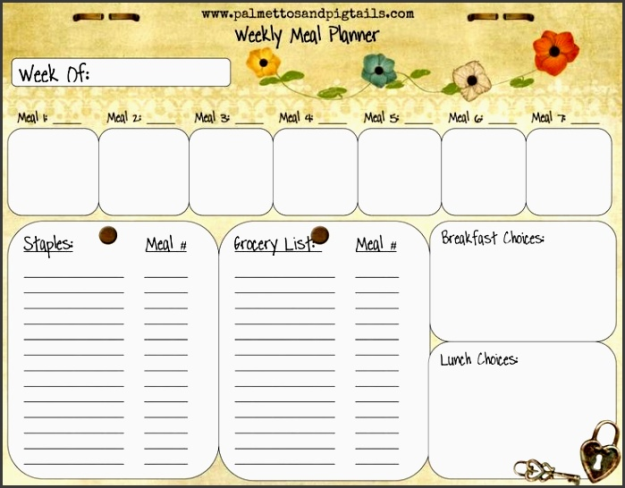 house manager weekly meal planner template from palmettos and pigtails