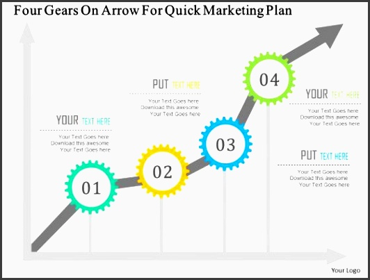 business diagram four gears on arrow for quick marketing plan presentation template