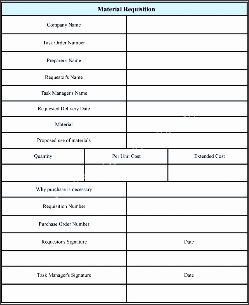 Material Requisition Form Template  Format Of Purchase Order Form