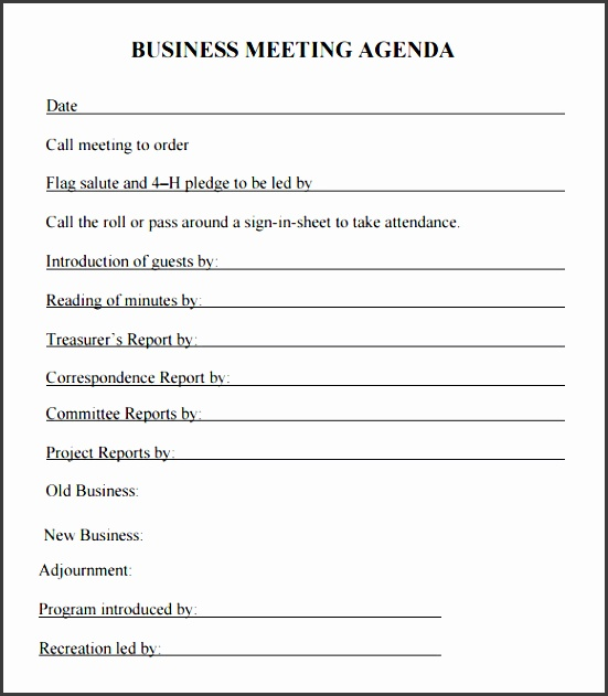 Business Meeting Agenda Template Pdf  Meeting Agenda Template Word