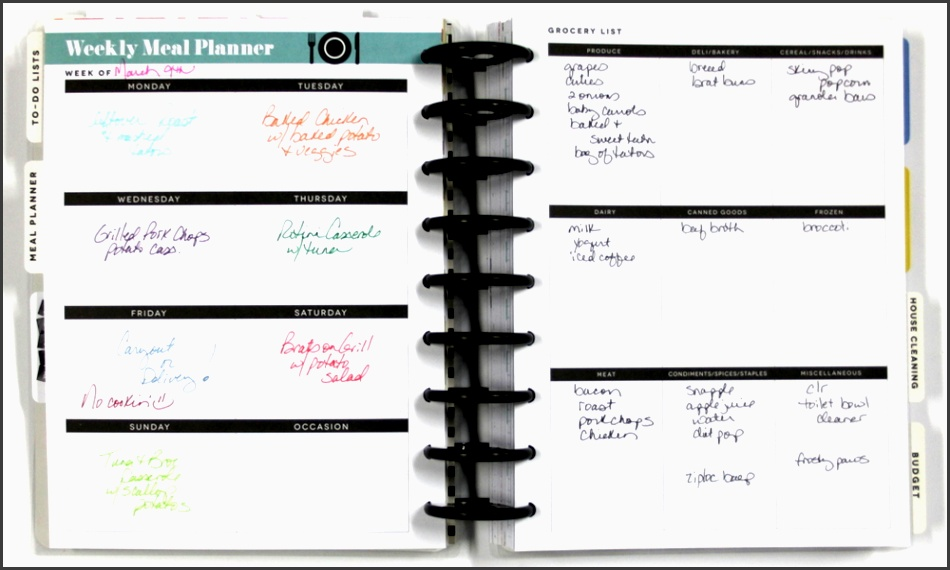 create 365â the happy plannerâ meal planner spread of mambi design team member candi