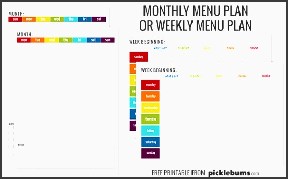 free printable menu plans monthly or weekly plans starting on sunday or monday