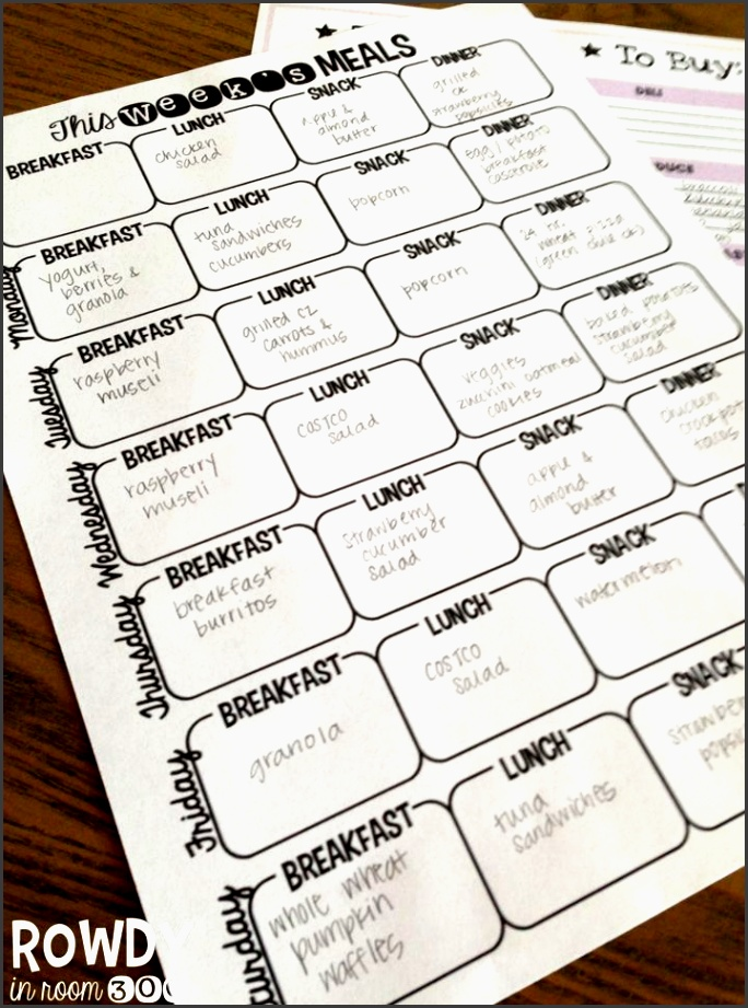 rowdy in room 300 life organized weekly meal planner organizing page freebie