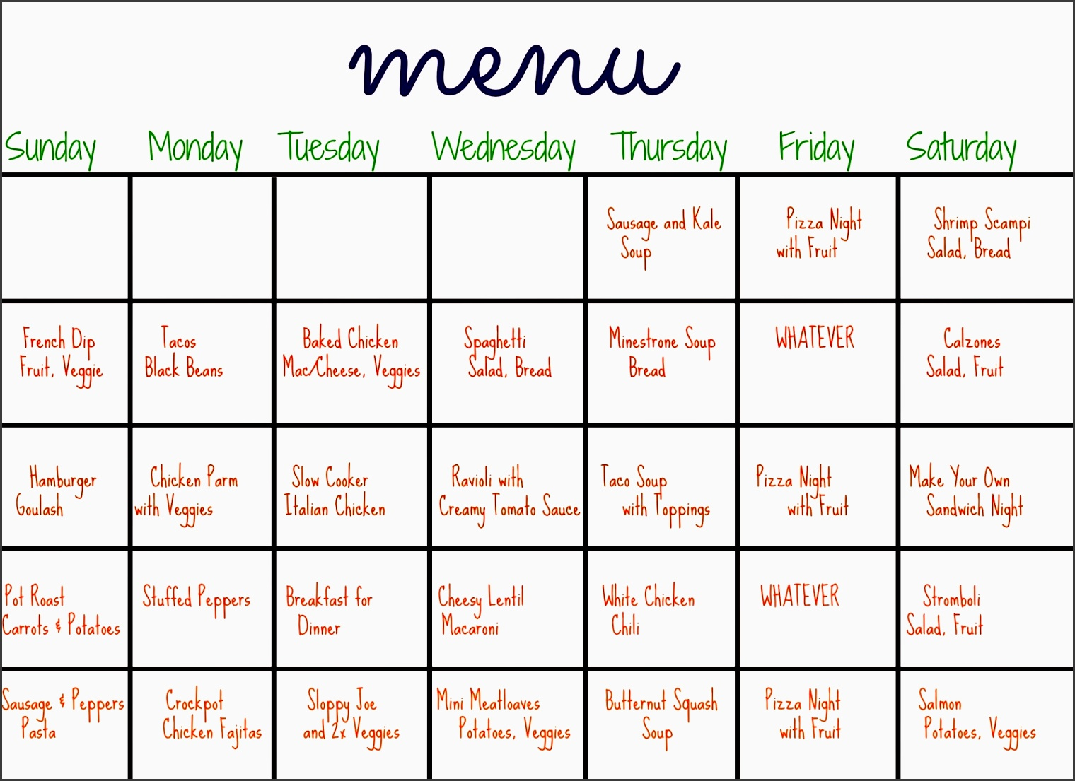 31 days of dinners a menu plan for the whole month the chirping moms