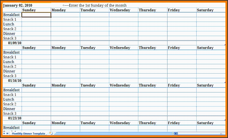monthly meal plan excel template Archives ...