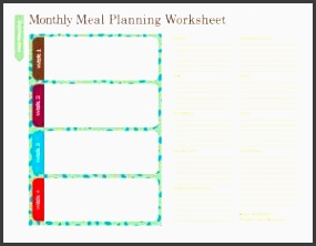 free household notebook with 36 printables monthly meal plan worksheet