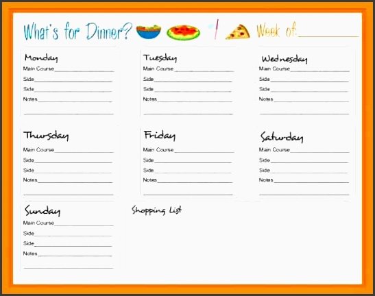 7 weekly menu planner template