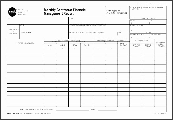 monthly contractor financial management report pdf format template