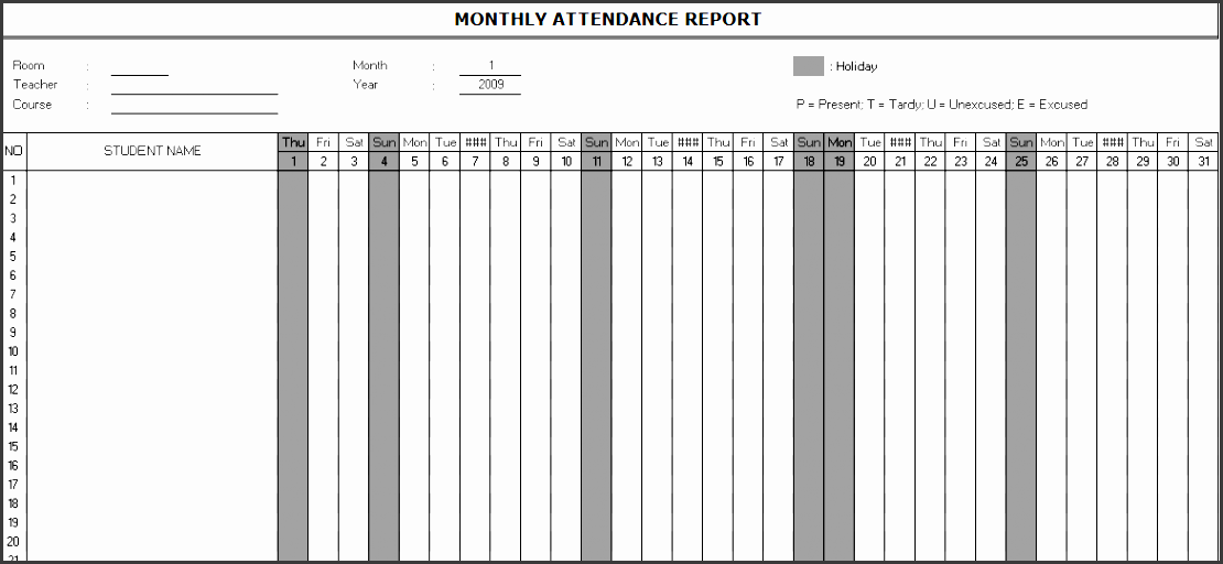 monthly attendance report template