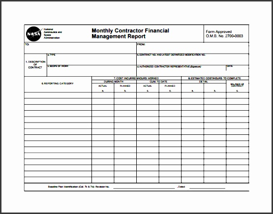 Monthly Contractor Financial Management Report Template  Monthly Report Format