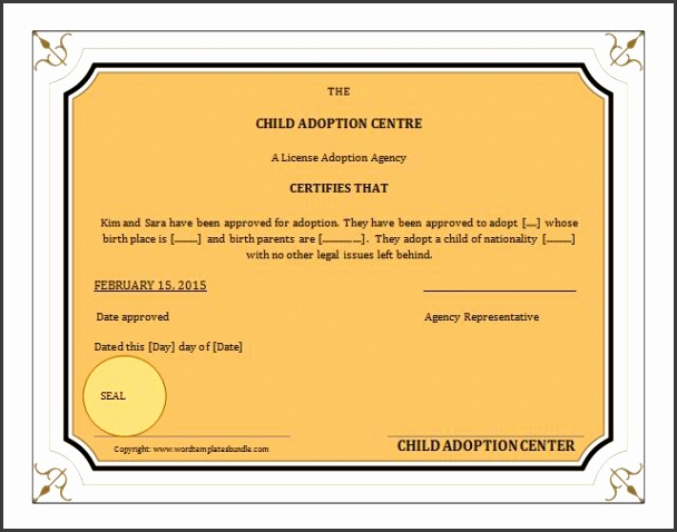 adoption certificate templates ms word adoption birth certificate template formal word templates ideas