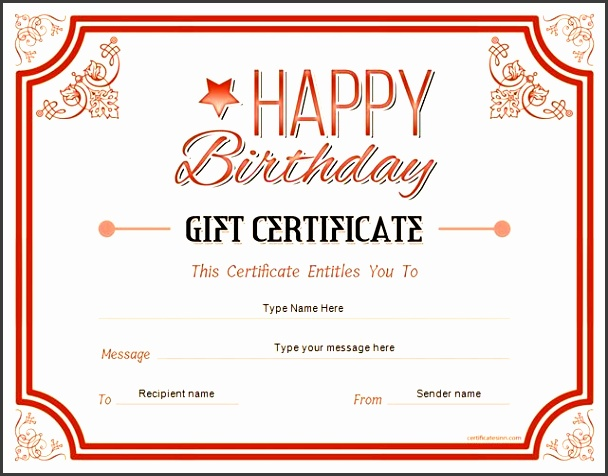 birthday t certificate for ms word at