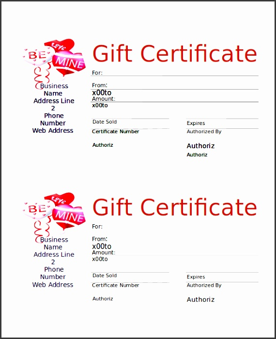 valentines day t certificate word free
